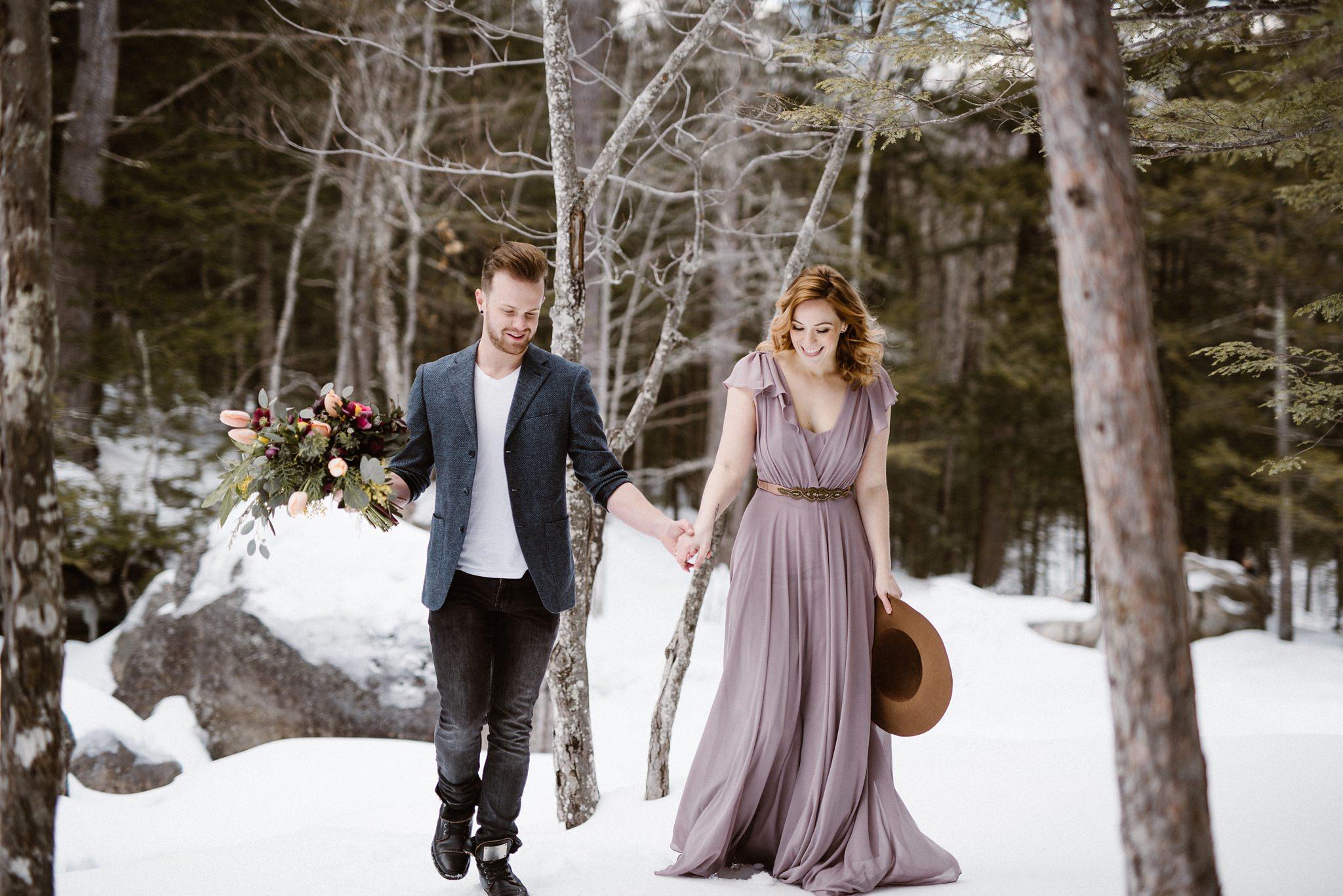 White Mountains Wedding Photographer Diana S Baths Engagement Photos Emily Herzig Lindsay Hackney